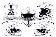 Шлем кроссовый   (mod:CR168) (size:XL, белый, FIRE)   HELMO