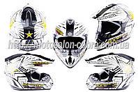 Шлем кроссовый   (mod:CR168) (size:L, белый, ROCKSTAR)   HELMO