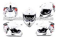 Шлем кроссовый   (mod:CR168) (size:L, белый, DICE)   HELMO
