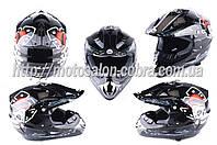 Шлем кроссовый   (mod:CR168) (size:L, черный, DICE)   HELMO