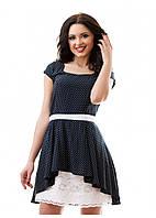 Изящное платье в горошек 46,48