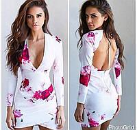 Платье женское короткое Турция Белое Открытая спинка Цветы
