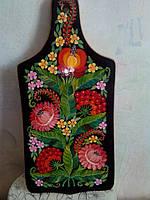 Доска разделочная декоративная,черный фон розовые цветымаленькая ( 31х14 см)