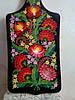 Доска разделочная декоративная ,черный фон розовые цветы .Средняя (36х17 см)
