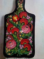 Доска разделочная декоративная черный фон розовые цветы . Размер большой ( 42х19см )