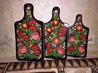 Набор досок разделочных декоративных розовые цветы . три размера (3 шт.)