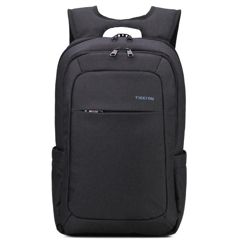 Рюкзак TIGERNU для ноутбуков темно-серый с голубым логотипом