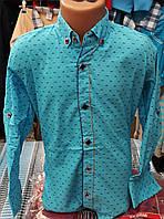 Стильная стрейчевая рубашка для мальчика 6-14 лет (бирюза1701) (пр. Турция)