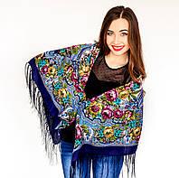 Женский  платок с цветами синего цвета (120х120см, синий, 80%-шерсть), фото 1