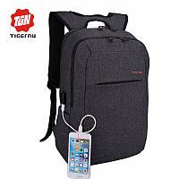 Рюкзак TIGERNU для ноутбуков темно-серый с красным логотипом с USB