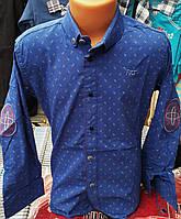 Стильная стрейчевая рубашка для мальчика 6-14 лет (ярко синяя1703) (пр. Турция)