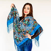 Бирюзовый платок для девушек с цветами (120х120см, 80%-шерсть)