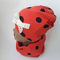 Детская трикотажная шапка  для девочки+ хомут двойная от  6-9 лет оптом, фото 1