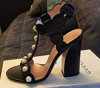 Босоножки женские кожаные на высоком широком каблуке Черные Бусины 37 (24см)