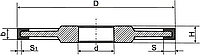Алмазный шлиф.круг (ПП) формы-14 U1 D-125мм*H-10мм*b-6мм-S-4мм*s1-2мм АС4 125/100 В2-01 100%