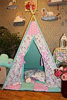 """Детский игровой домик, вигвам, палатка, шатер, шалаш """"Нежная мята"""""""