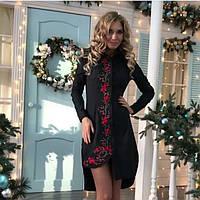Платье рубашка Женское DRESS CODE 36р (С-М) Черное с вышивкой