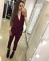 Костюм женский двойка, удлиненный жилет под пояс и узкие брюки, цвет бордовый