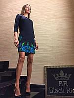Платье мини Black Rich М (44) темно-синее с цветами