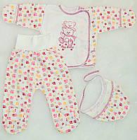 Комплект детский с начесом. Ползунки, распашонка, шапочка  для новорожденных