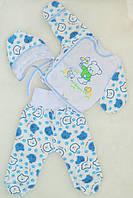 Комплект детский с начесом. Ползунки, распашонка, шапочка  для новорожденных 62