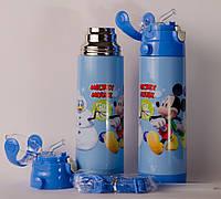 Термос детский  DisneY Mickey Mouse 500 мл  металлический бутылочка  с трубочкой  Акция !!!