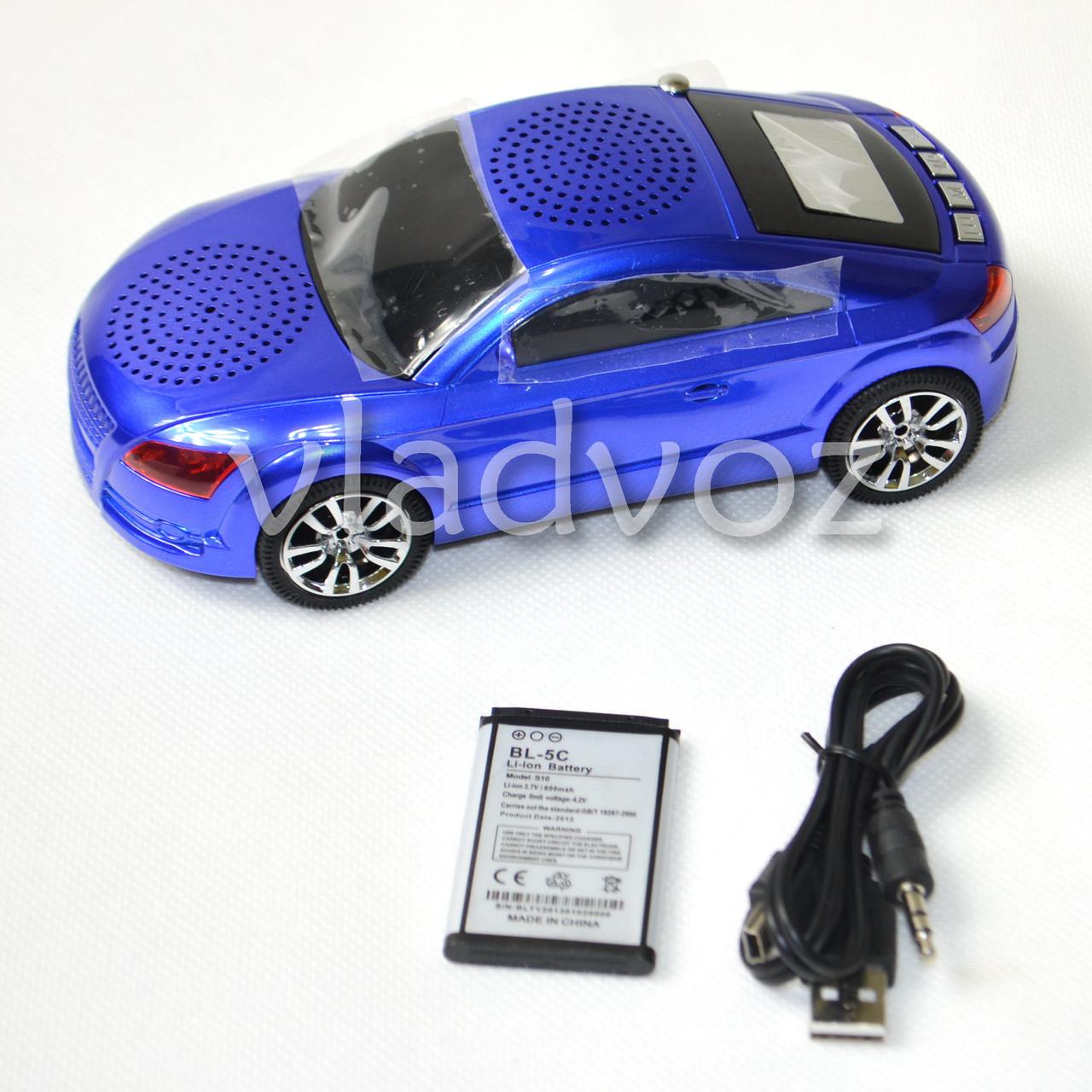 Портативная колонка MP3 плеер Audi S5 синяя FM, USB, SD, AUX вход