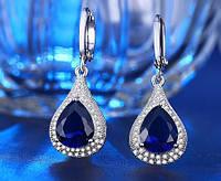 402 - Бижутерия позолоченные серьги с синими кристаллами