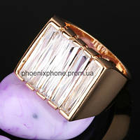 Крупное кольцо - печатка с камнями, покрытое золотом (112840)