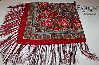 Павлопосадский бордовый платок Глория, фото 2