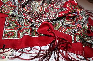 Павлопосадский бордовый платок Глория, фото 3