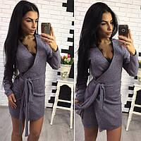 Платье теплое из ангоры на запах с кружевом мини 4 цвета SMol1220