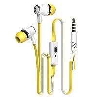 Желтые брендовые наушники с микрофоном Langsdom, фото 1