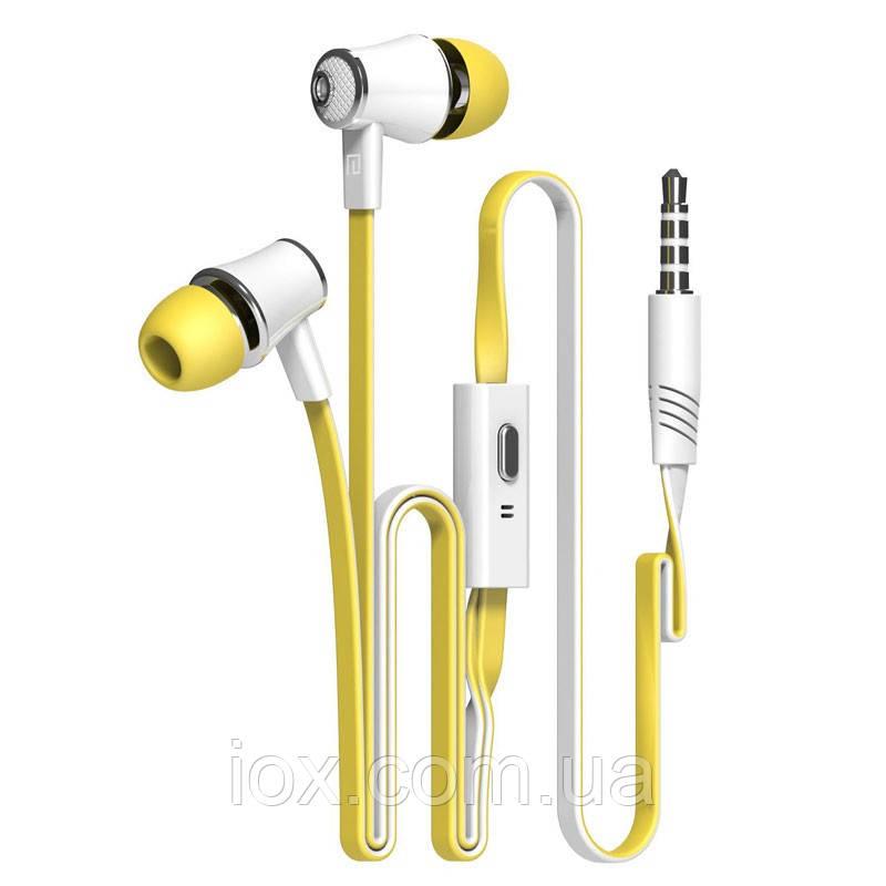 Желтые брендовые наушники с микрофоном Langsdom