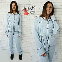 Костюмчик в пижамном стиле голубой 12272