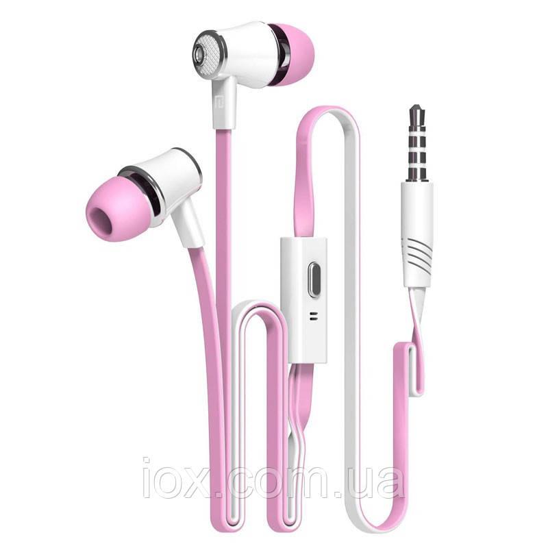 Розовые брендовые наушники с микрофоном Langsdom