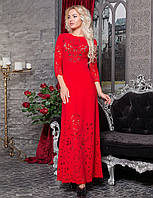 Шикарное длинное платье в пол с перфорацией красное