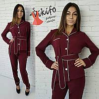 Костюмчик в пижамном стиле бордо 12274