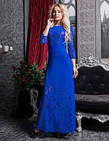 Шикарное длинное платье в пол с перфорацией электрик