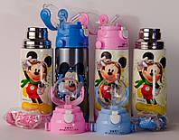 Термос детский DisneY Mickey Mouse 350 мл металлический бутылочка с трубочкой Акция  !!!