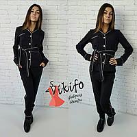 Костюмчик в пижамном стиле черный 12276