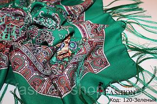 Павлопосадский зелёный платок Глория, фото 3