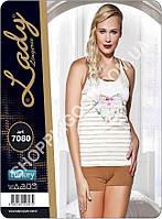 Женская пижама Lady Lingerie 7080, домашний костюм майка и шорты