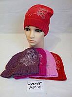 Подростковая шапка для девочки тонкая ажурная вязка со стразами р.52-54