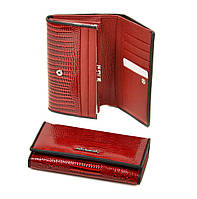 Женский лаковый кожаный кошелек Alessandro Paoli. Черный и красный кошелек из натуральной кожи. Модный