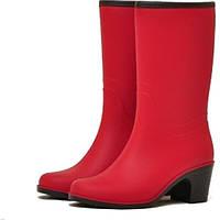 Женские сапоги Nordman Bellina укороченные на каблуке с мехом Красные