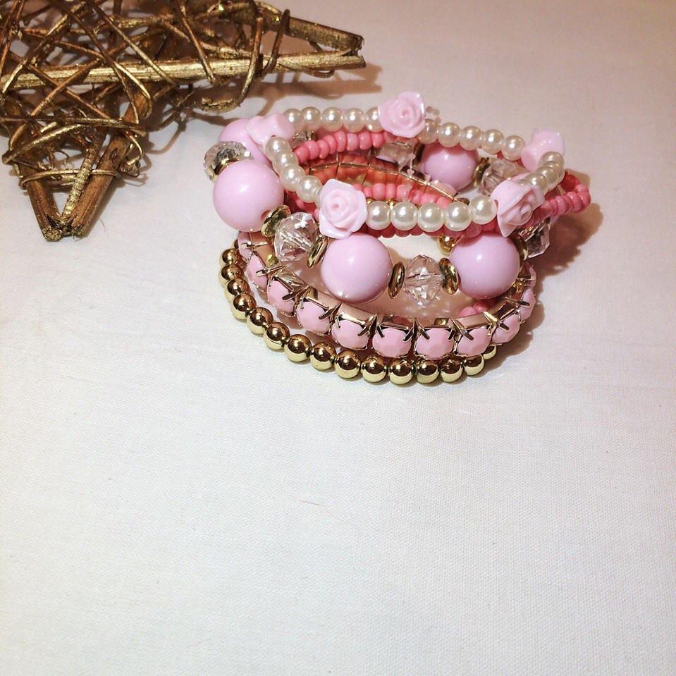 Браслет розовый 07044