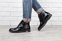 Ботинки женские лакированные черные Ricci на молнии и шнуровке, Черный, 36