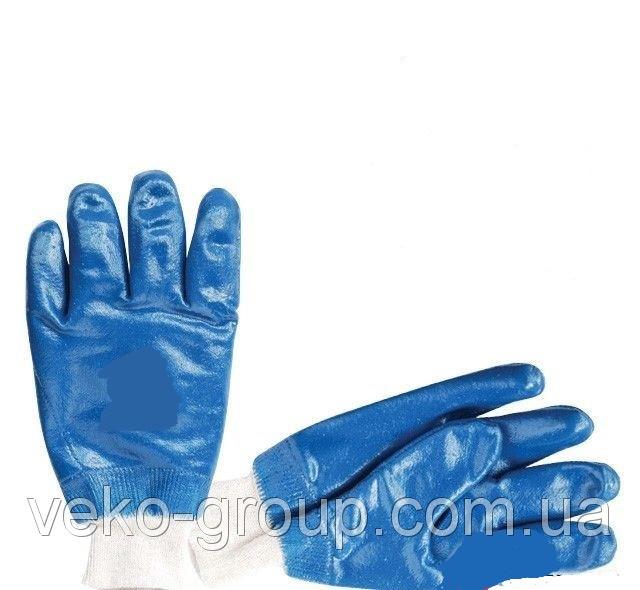 Рукавицы нитриловые синие с мягким манжетом