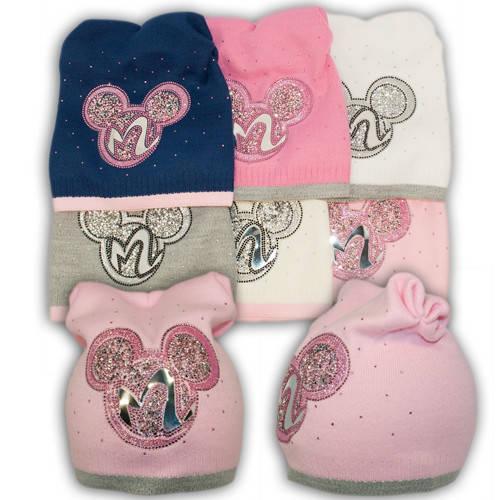 Вязаная шапка с ушками Mini Mouse, для девочки, B18